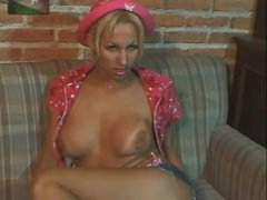 Solo blonde lady-boy tease and wank